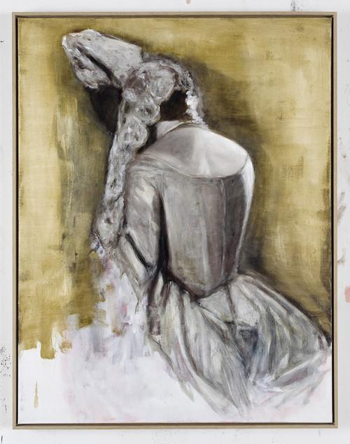 <i>Frau mit Korsett</i>,       2009<br />      oil on canvas,        106 x 80 cm<br />