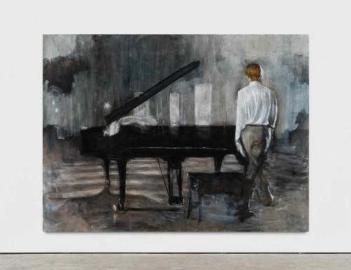 »Mann und Flügel«,       2019<br />      oil on canvas,        250 x 330 cm<br />