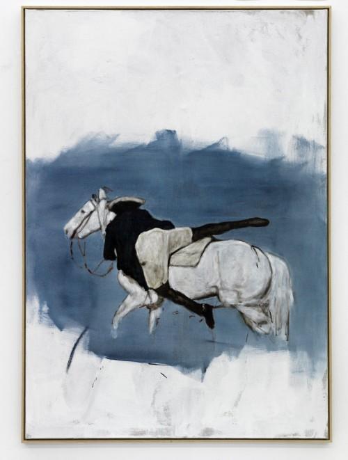 »Reiter und Schimmel«,       2010<br />      oil paint on canvas,        155 x 110 cm<br />