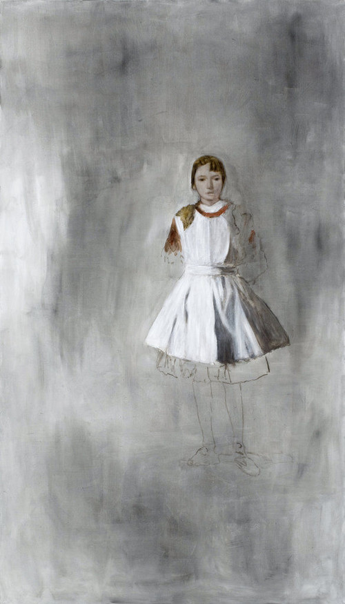 <i>Mädchen</i>,       2008<br />      oil paint on canvas,        284 x 161 cm<br />