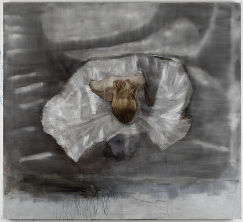 <i>Knieendes Mädchen</i>,       2012<br />      oil paint on canvas,        185 x 203 cm<br />