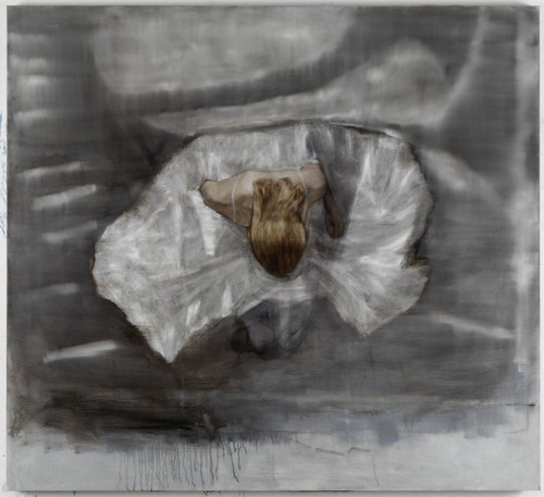 »Knieendes Mädchen«,       2012<br />      oil paint on canvas,        185 x 203 cm<br />