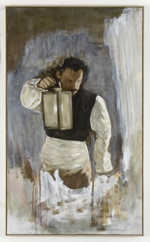 <i>Mann im Dunkeln</i>,       2009<br />      oil paint on canvas,        209 x 125 cm<br />
