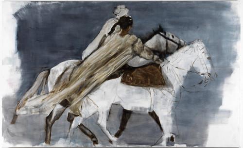 »Reitende«,       2011<br />      oil on canvas,        140 x 230 cm<br />