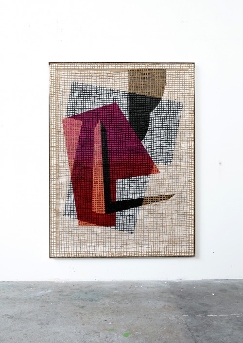 »Floorplan Desire Painting«,       2015<br />      Silk-screen print, acrylic on wood, jute net in aluminium shadow gap frame,        200 x 148 x 6 cm<br />
