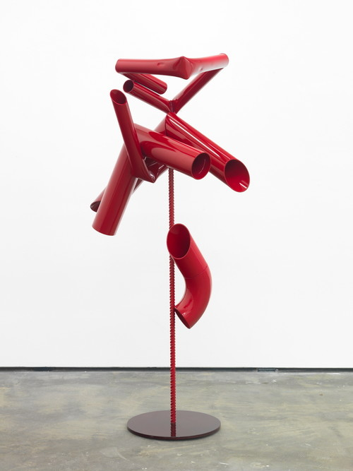 »Body language: Red couple«,       2012<br />      Powder coated steel, paint,        158 x 86 x 67 cm<br />