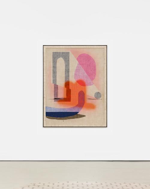 »Desire Paintings: Hail al Vento«,       2019<br />      acrylic on wood and jute net, aluminum frame,        160 x 125 x 5 cm<br />