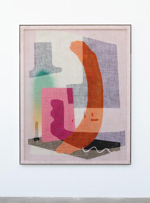 »Desire Painting: Cadeau Venecianeau«,       2018<br />      silk-screen print, acrylic on wood, jute net in aluminium shadow gap frame,        192 x 152 cm<br />
