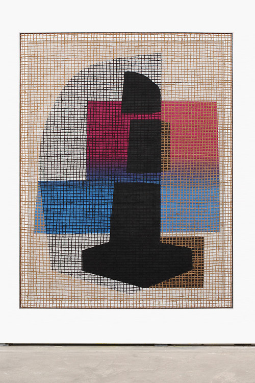 <i>Floorplan Desire Painting (K. C. Blackpole)</i>,       2016<br />      Silk-screen print, acrylic on wood, jute net in aluminium shadow gap frame,        197 x 154 cm<br />