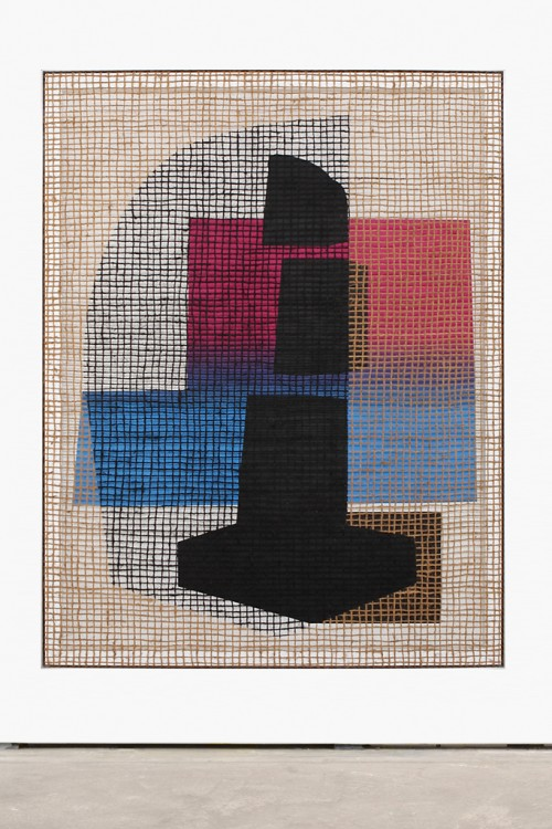 »Floorplan Desire Painting (K. C. Blackpole)«,       2016<br />      Silk-screen print, acrylic on wood, jute net in aluminium shadow gap frame,        197 x 154 cm<br />