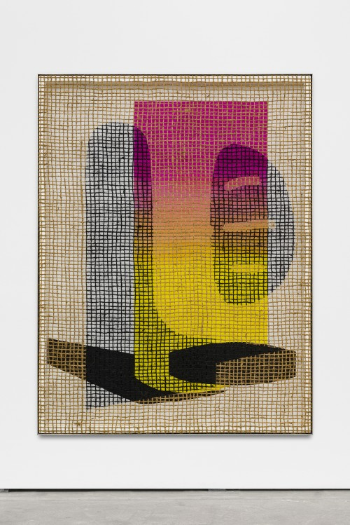 »Floorplan Desire Painting (Scales)«,       2016<br />      silk-screen print, acrylic on wood, jute net in aluminium shadow gap frame,        200 x 145 x 5 cm<br />
