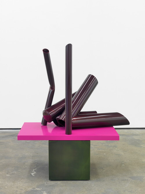 »Body language: Cherry on green«,       2012<br />      Powder coated steel, paint,        114 x 103 x 63 cm<br />