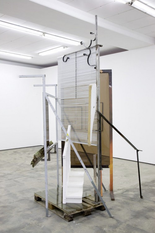 »STEGALENIAN Rhapsodie«, 2009<br />Wood, glass, steel, jalousie, paper, 342 x 230 x 200 cm<br />