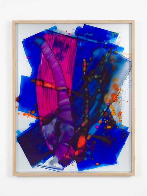 »I love you (meanwhile blue)«,       2013<br />      Ink behind glass, aluminium,        164 x 129 x 6.5 cm<br />