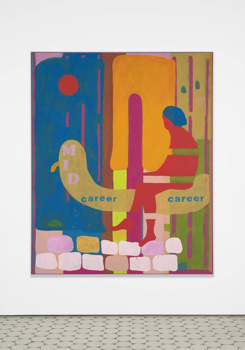 <i>SUV Painting (Mid Career Canoe)</i>,       2020<br />      acrylic on bedsheet, framed,        193 x 158 cm<br />