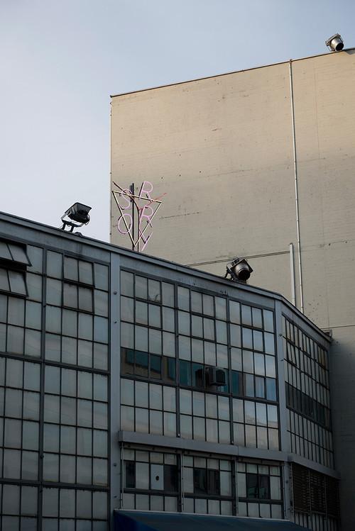 »Sorry«,       2013<br />      Neon, metal, transformer,        391 x 196 x 50 cm<br />      Installation view, Maag Music Hall, Zurich, Switzerland, 2014