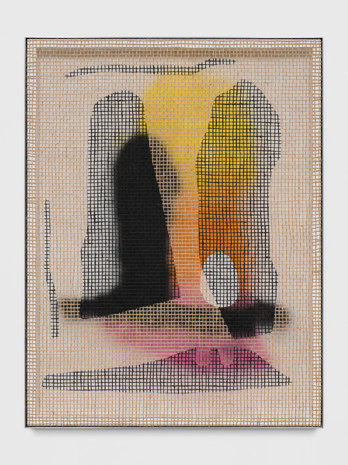 <i>Floorplan Desire Painting (Egg Park)</i>,       2017<br />      acrylic on wood, jute net in aluminium shadow gap frame,        113.5 x 86.5 cm<br />