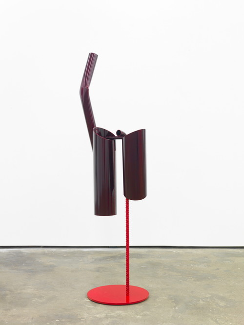 »Body language: Male, standing«,       2012<br />      Powder coated steel, paint,        158 x 50 x 28 cm<br />