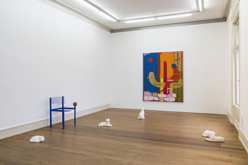 »Installation view 'Bongos at the Lido', Villa Merkel, Esslingen, Germany, 2020«,       <br />      Photo credit: Frank Kleinbach,       <br />