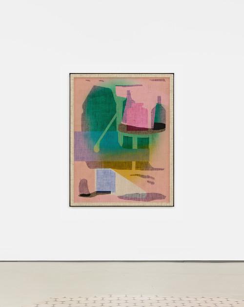»Desire Painting: Lago di Pillgreen«,       2019<br />      acrylic on wood and jute net, aluminum frame,        160 x 125 x 5 cm<br />