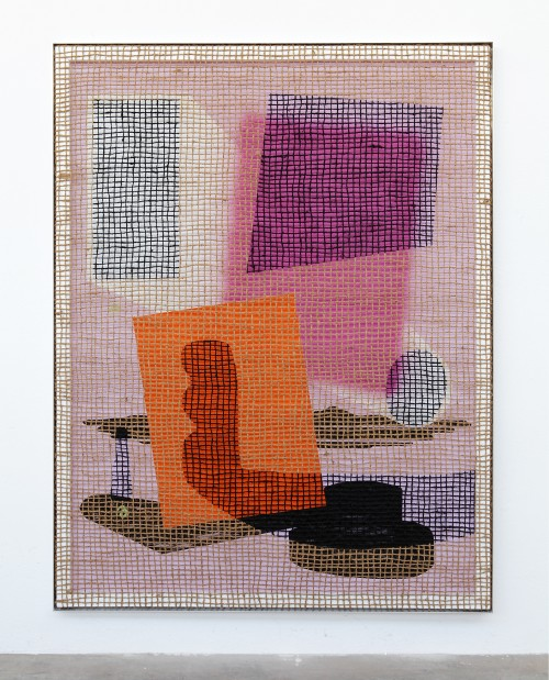 »Desire Painting: Venetian Imagio«,       2018<br />      silk-screen print, acrylic on wood, jute net in aluminium shadow gap frame,        220 x 175 cm<br />