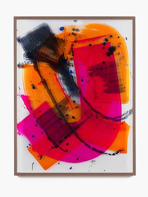 »I Love You (fun bow)«,       2014<br />      Ink behind glass, aluminium,        165 x 125 cm<br />