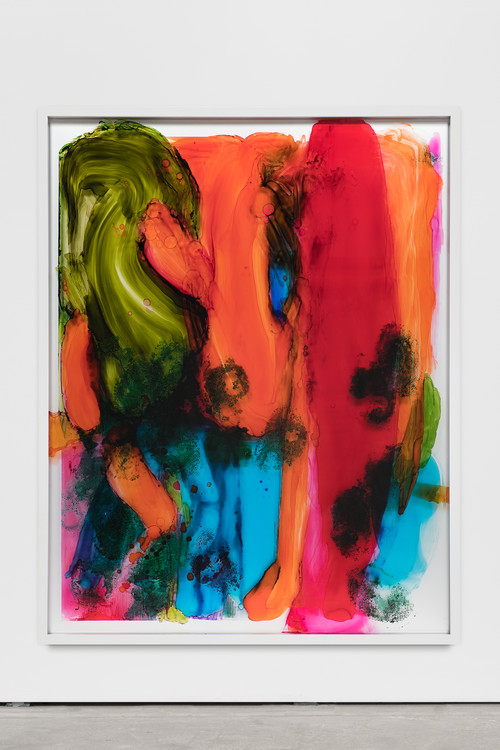 »I Love You Painting (Finger Linger Us)«,       2017<br />      ink and acrylic behind glass, aluminium,        160 x 125 x 8 cm<br />