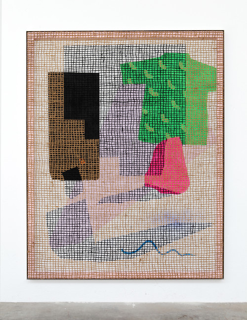 »Desire Painting: Lido di figo«,       2018<br />      silk-screen print, acrylic on wood, jute net in aluminium shadow gap frame,        217 x 172 cm<br />