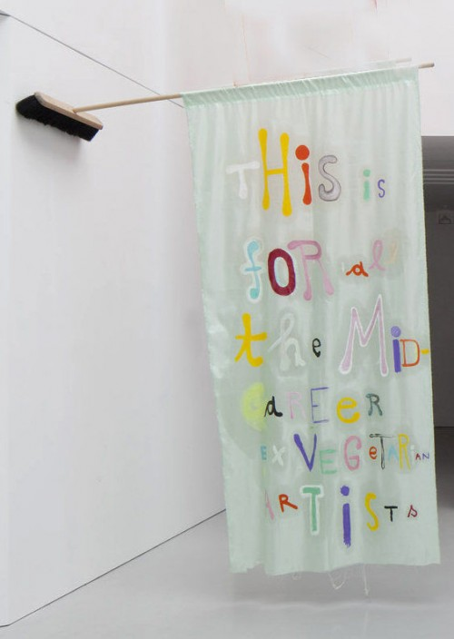 »From the series: some little artistic attitude, even after all«, 2011<br />Oil on china silk, 228 x 105 cm<br />