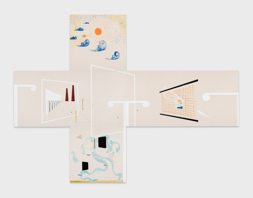 »From the series: Beaches of the Lonely Men (6.30 - 7.30 AM)«, 2015<br />, six individual canvases, each panel 155 x 155 cm<br />