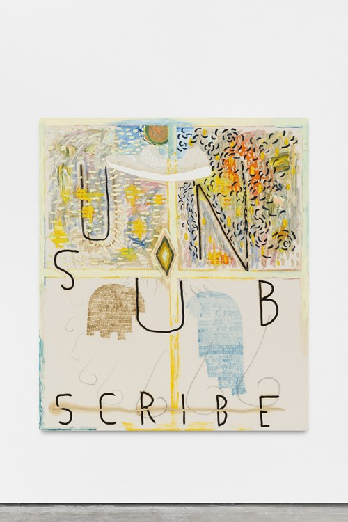 »From the Series: Unsubscribe«, 2015<br />oil paint, oil stick and airbrush on canvas, 152 x 133 cm<br />