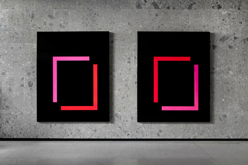 <i>set 159 & set 160</i>,       2013<br />      lacquered aluminum,        250 x 200 x 15 cm (each)<br />      Exhibition view Bocconi Art Gallery, Milano, Italy, 2014