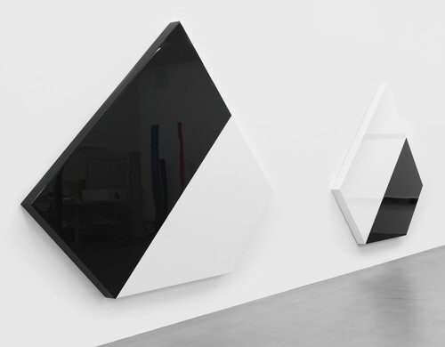<i>section 1 & 2</i>,       2017<br />      lacquered aluminum,        253 x 338 x 12,8 cm (each)<br />      Studio view
