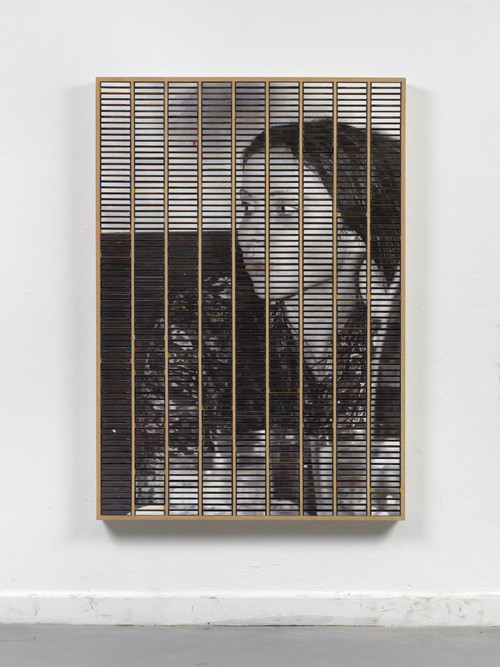 »o. T. (Mama)«,       2015<br />      ink jet print, inlays and plastic boxes in wooden case,        159 x 112 cm<br />
