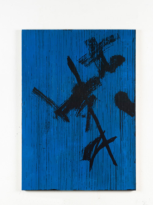 <i>Oh Himmel, strahlender Azur ((Bertold Brecht) in Gedanken an Peter Lang)</i>,       2014<br />      cassette tape and acrylic paint on canvas,        129 x 92 cm<br />