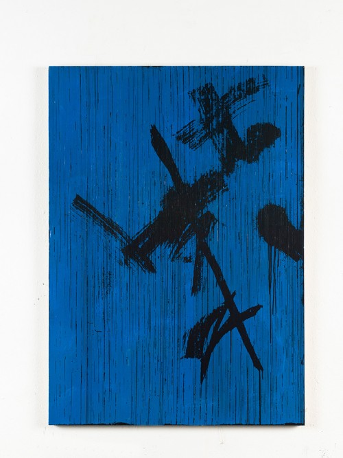»Oh Himmel, strahlender Azur ((Bertold Brecht) in Gedanken an Peter Lang)«, 2014<br />cassette tape and acrylic paint on canvas, 129 x 92 cm<br />