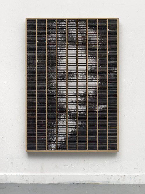 »Marlene gespiegelt im Kasten«,       2015<br />      ink jet print, inlays and plastic boxes in wooden case,        160 x 112 cm<br />