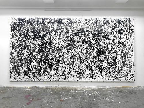 <i>Nimm dir was du brauchst (Verschwende deine Jugend)</i>,       2010<br />      cassette tape and dispersion on canvas,        268 x 528 cm<br />