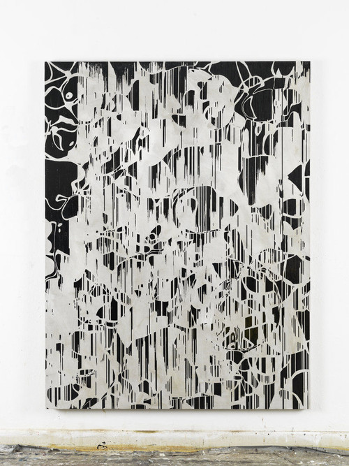 »Frühstück im Fleury (Blume E.N.)«,       2012<br />      Cassette tape and dispersion on canvas,        192 x 174 cm<br />