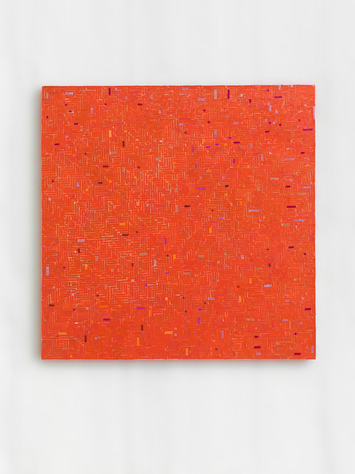 »wandert rot zu rot«,       2016<br />      start and end of audio cassettes on canvas,        49 x 49 cm<br />