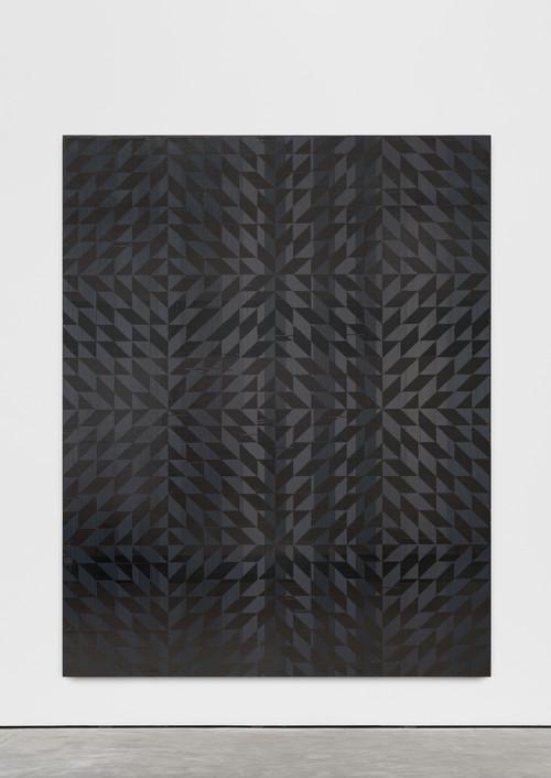 »Ich hab mich auf den Boden gelegt (Toco)«,       2018<br />      cassette tape on canvas,        241 x 190.6 cm<br />