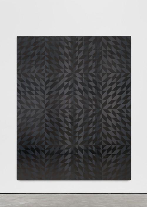»Ich hab mich auf den Boden gelegt (Toco)«, 2018<br />cassette tape on canvas, 241 x 190.6 cm<br />