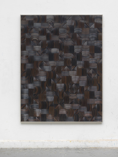 »Heide«,       2017<br />      cassette tape and canvas on wood,        170 x 130 cm<br />