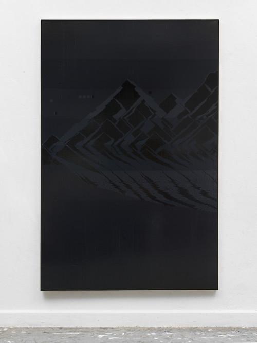»Wanderlust. Eiger, Mönch und Jungfrau«,       2018<br />      cassette tape on canvas,        196.5 x 128.5 x 5 cm<br />