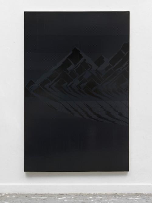 »Wanderlust. Eiger, Mönch und Jungfrau«, 2018<br />cassette tape on canvas, 196.5 x 128.5 x 5 cm<br />