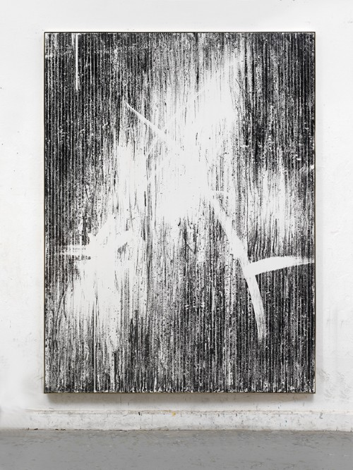 »Offene Türen«, 2017<br />magnetic vhs coating, adhesive tape and acrylic on canvas, 222 x 166 cm<br />