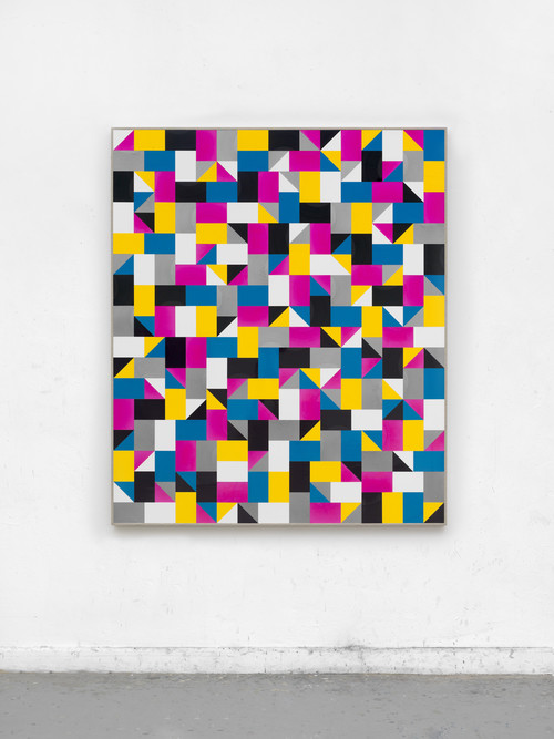 <i>lights shell sound (PAAR)</i>,       2018<br />      cut vinyl records, canvas, wood,        154 x 131.5 cm<br />