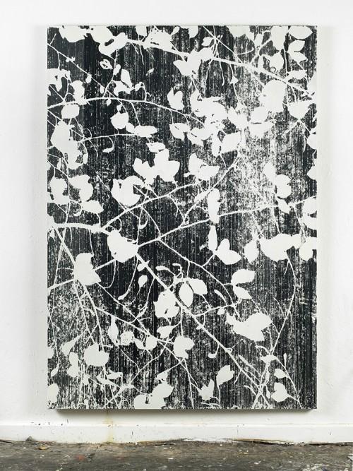 »Da blüht der Flieder (wenn es Mai ist) (Konstantin Wecker)«, 2014<br />cassette tape, adhesive tape, and acrylic paint on canvas, 222 x 156 cm<br />