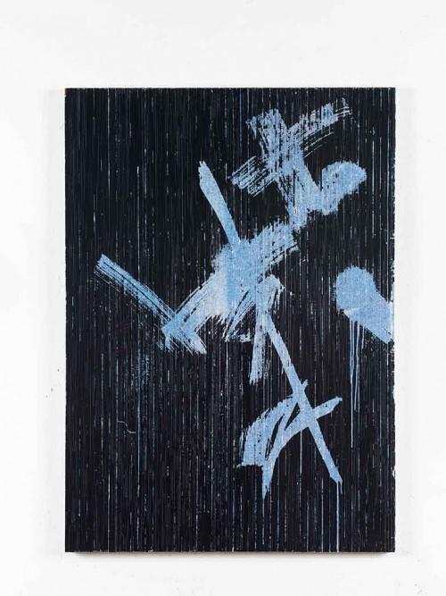 »(Von unerhörten Küssen naß) Vom Frost eisweißer Nacht zerrissen (Nach B. Brecht)«, 2014<br />cassette tape and acrylic paint on canvas, 129 x 92 cm<br />