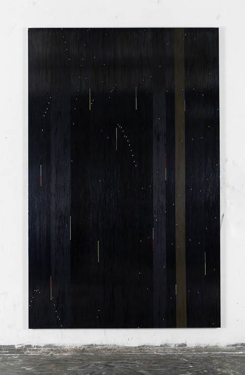 »Because the night - Patti Smith«,       2010<br />      cassette tape and adhesive tape on canvas,        274 x 174 cm<br />